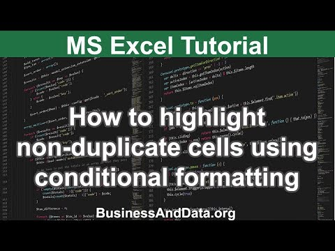 How to highlight non-duplicate cells using conditional formatting | MS Excel Tutorial