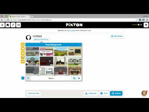 How to create a comic strip using Pixton.