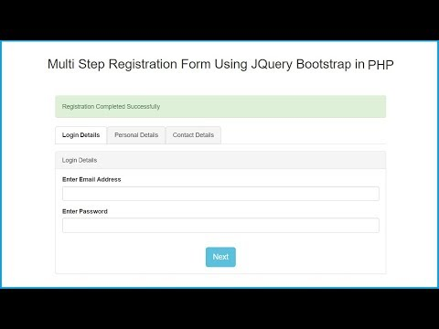Multi Step Registration Form Using JQuery Bootstrap in PHP
