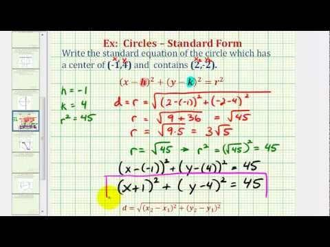 Ex: Find Standard Equation of a Circle Given Center and Point on the Circle