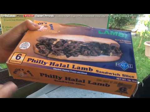 Cooking Halal Lamb Philly Cheese Steaks & Burgers Using Lodge LPG13 Cast Iron Griddle & Weber Grill
