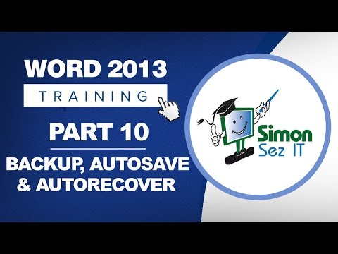 Word 2013 for Beginners Part 10: Backup, Autosave and Autorecover in Word 2013