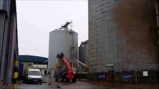 Timelapse Construction Of 2 Grain Silos