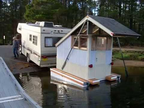 Micro Mini House Boat Floating Cabin Craft - First Launch