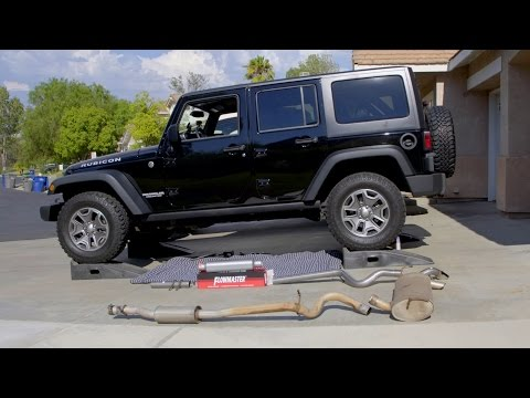 Jeep Wrangler Exhaust Upgrade -Flowmaster- How To Install Great Sound!
