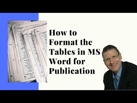 How to format Tables in MS Word for publication