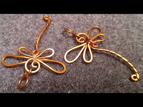 Simple wire dragonfly pendant - handcrafted copper jewelry 76