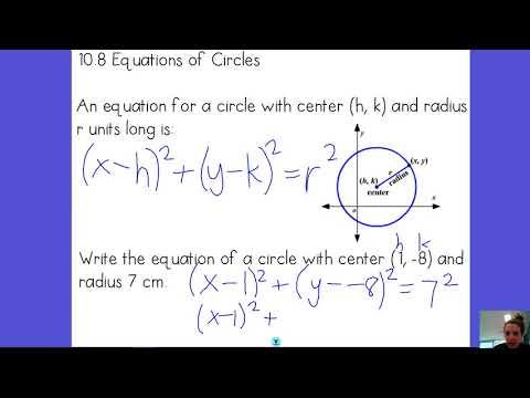 10.8 Equation of Circle - Standard Form