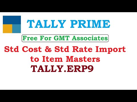 Std Cost & Std Rate Import to Item Masters