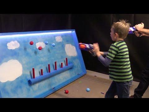 Floating balls Nerf gun target shooting range | Carnival Game DIY | Make Science Fun