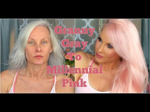 Granny Gray To Millennial Pink: Custom Temporary Hair Color, Wig Application, Makeup