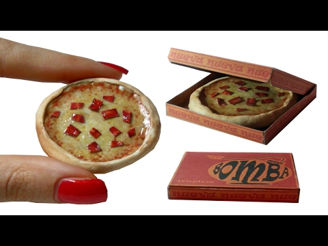 DIY Miniature ►Pizza with box◄ for Dollhouse TUTORIAL – Crafts