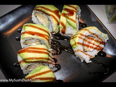 Shrimp Tempura Roll with Avocado on Top