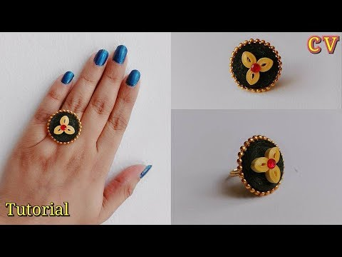 How to Make Quilling Finger Ring / Tutorial / Beginners / Design 9