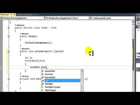 Tutorial C# Windows Form Application function Passing array in Kurdish