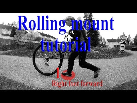 Riding a unicycle part 37: Tutorial on how to do a free mount (rolling mount) on a 36 inch unicycle