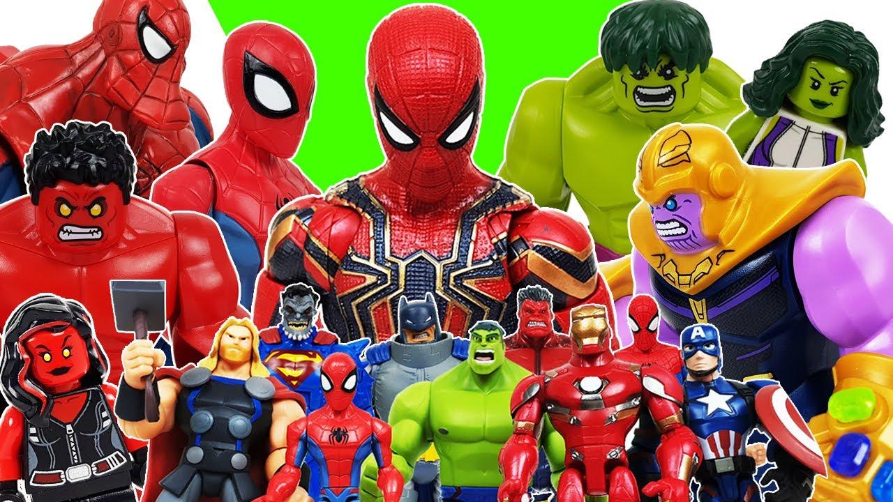 Avengers Transformation! Red Hulk, Iron Man, Thor, Spider-Man, Superman, Batman, Captain America!