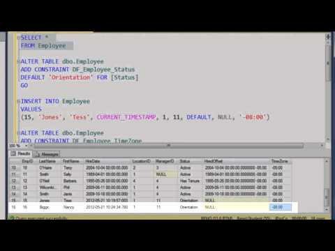 SQL 2012 Default Constraints Lab 1.3