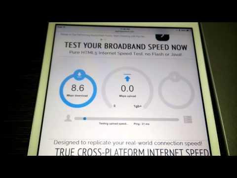 Internet speed test on Apple iPad Mini 2016