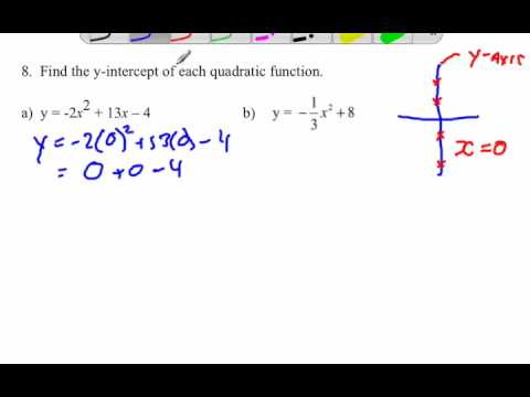 Finding y-intercept of quadratic functions given an equation