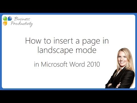 How to insert a page in landscape mode in Microsoft Word 2010