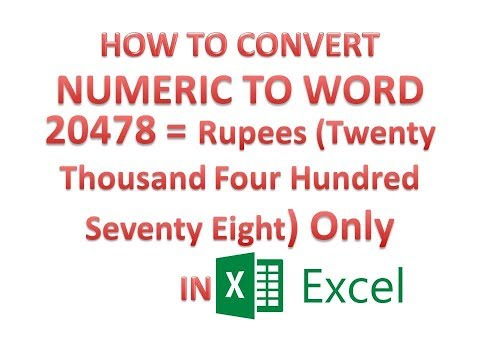 How to convert number to words in excel 2007 indian rupees