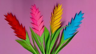 How to Make Heliconia Flower with Color Paper | DIY Paper Flowers Making