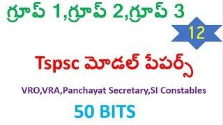 TSPSC Group1,Group2,Group3,VRO,VRA,Panchayat Secretary model paper 12
