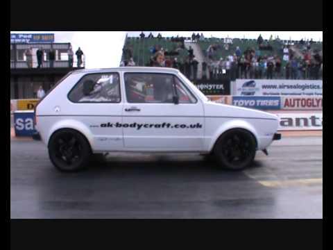 2010 NEW!! A K Bodycraft 1/4 mile 9.89 seconds @ 148.7 MPH VW Mk1 Golf Turbo GTi Spring Festival
