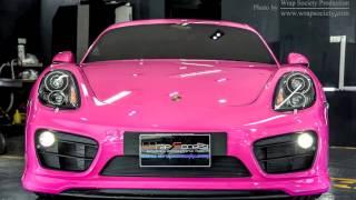 Porsche Cayman Techart GT Wrapped 3M Scotchprint Series 1080 Gloss Hot Pink