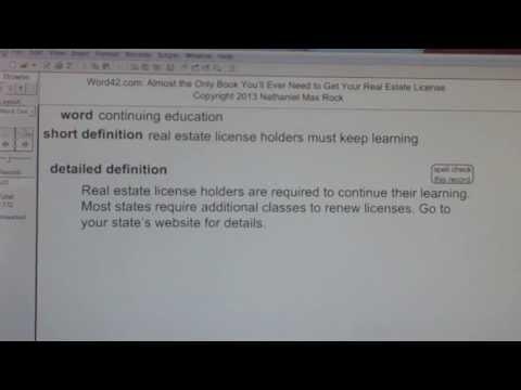 continuing education CA Real Estate License Exam Top Pass Words VocabUBee.com
