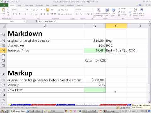 Excel 2010 Business Math 33: Markup and Markdown Calculations