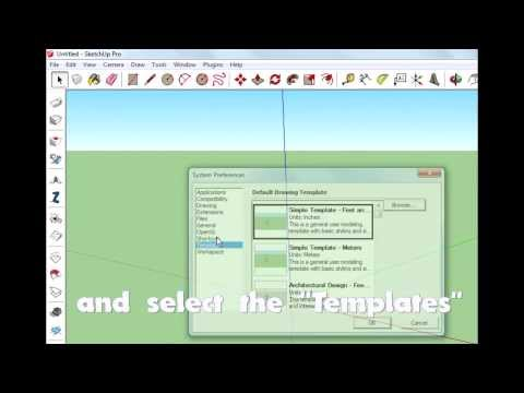 How to change template in sketchup.