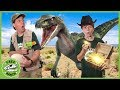 Dinosaurs amp Treasure Hunt Search For Gold Mystery Chest amp Raptor Dinosaur Showdown With Nerf Toys