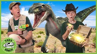Download Dinosaurs & Treasure Hunt! Search for Gold Mystery Chest & Raptor Dinosaur Showdown with Nerf Toys Video
