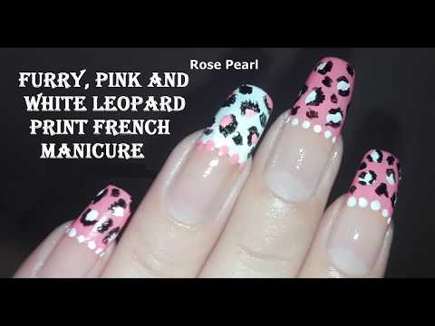 Furry Pink and White Leopard Print French Manicure- Nail Art Tutorial: No Tools Nail Art Design