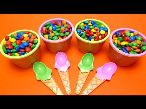 M&M's Ice Cream Cups Hide & Seek Surprise Toys (Anpanman, Hello Kitty, Minion ..) Game