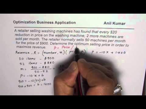 Optimization of Price or Demand Function for Maximum Revenue Calculus