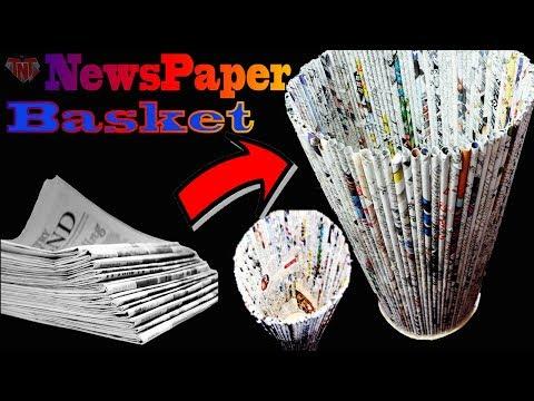 How To Make Newspaper Dustbin Basket || DIY Homemade Basket