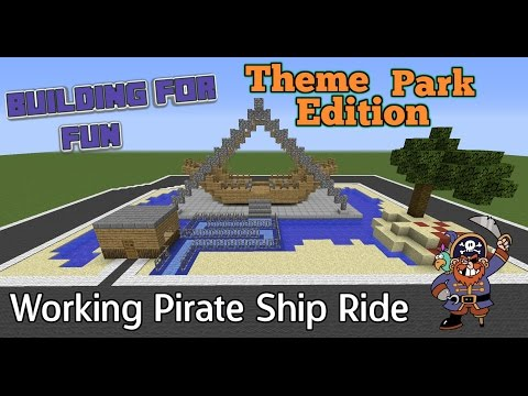 Minecraft PC - Building For Fun - Theme Park Edition - Working Pirate Ship Ride (34)