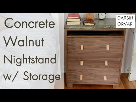 Modern Nightstand w/ Concrete Top
