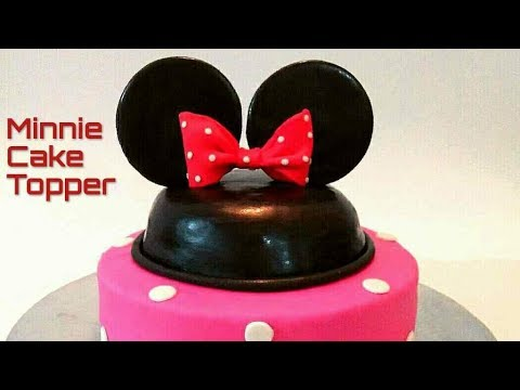 How to make MINNIE mouse ear and bow with fondant. Minnie ears and bow fondant cake topper