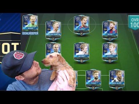 FIFA Mobile Full TOTY Team! Insane 100 OVR starting 11! Best FIFA 17 iOS Theme Team!