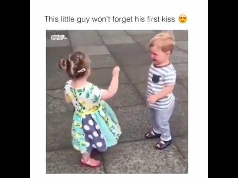 This little guy won't forget his first kiss
