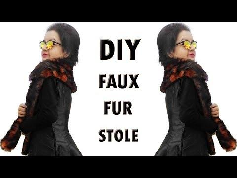 DIY Faux Fur Stole / Muffler - How to make a Muffler or Stole (Hindi)