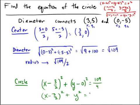 Writing an equation of a circle given the endpoints of a diameter