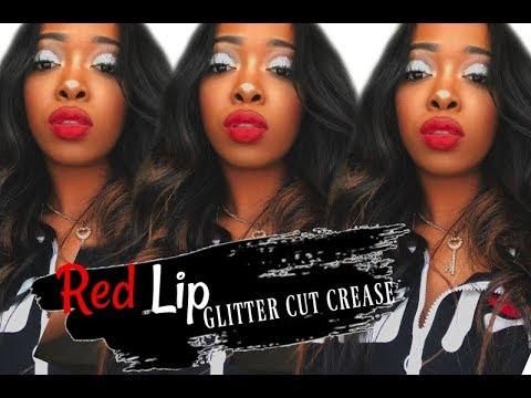 PROM SLAY MAKEUP | GLITTER CUT CREASE & RED LIP