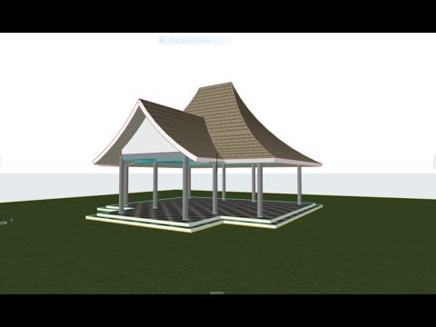 ARCHICAD 21 | Roof : Atap Lengkung & Dinding Trim to Roof | Shell