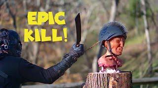 Zombie wearing Bike Helmet VS Survivor with BADASS Weapons!