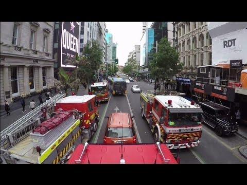 Auckland Fire Brigade responding to calls in the CBD